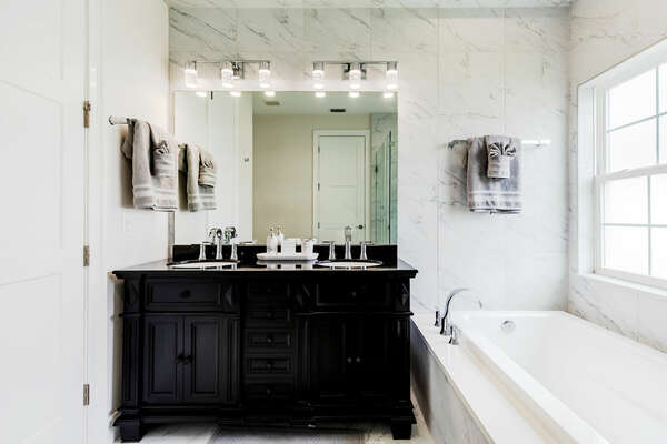 Marvel at the beautiful ensuite bath