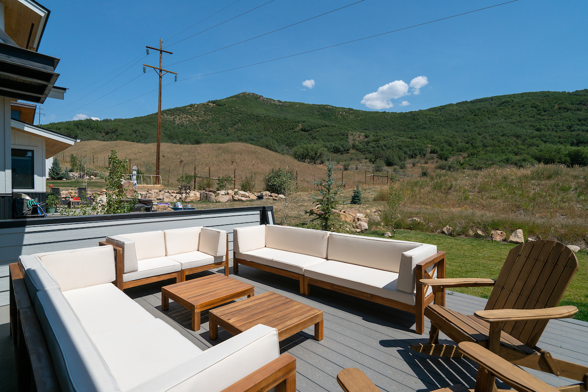 Plentiful outdoor seating at this vacation homes in Steamboat Springs.
