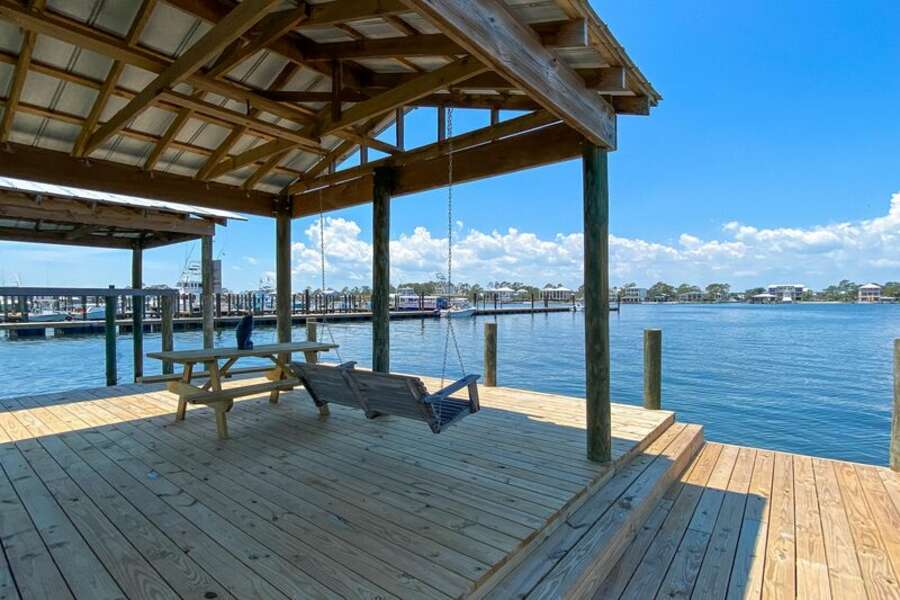 Swing Love Seat on Private Boat Dock