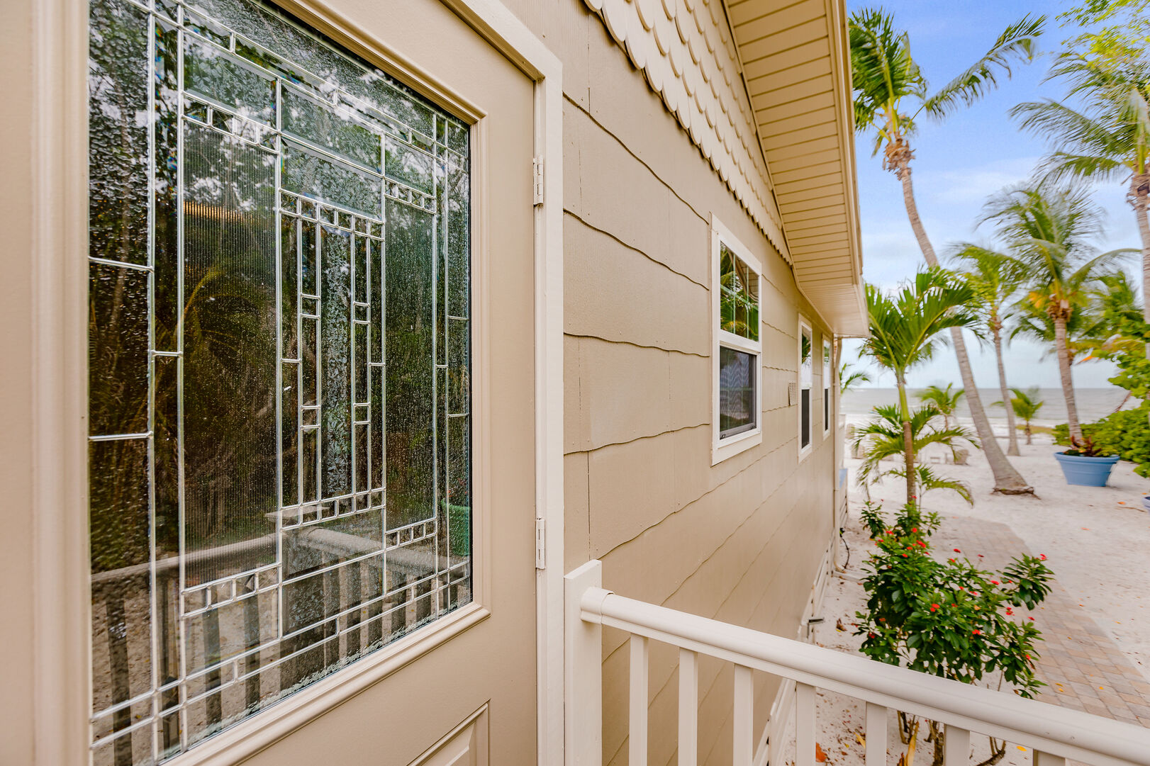 Front Door and View Private Beach House Rental in Florida