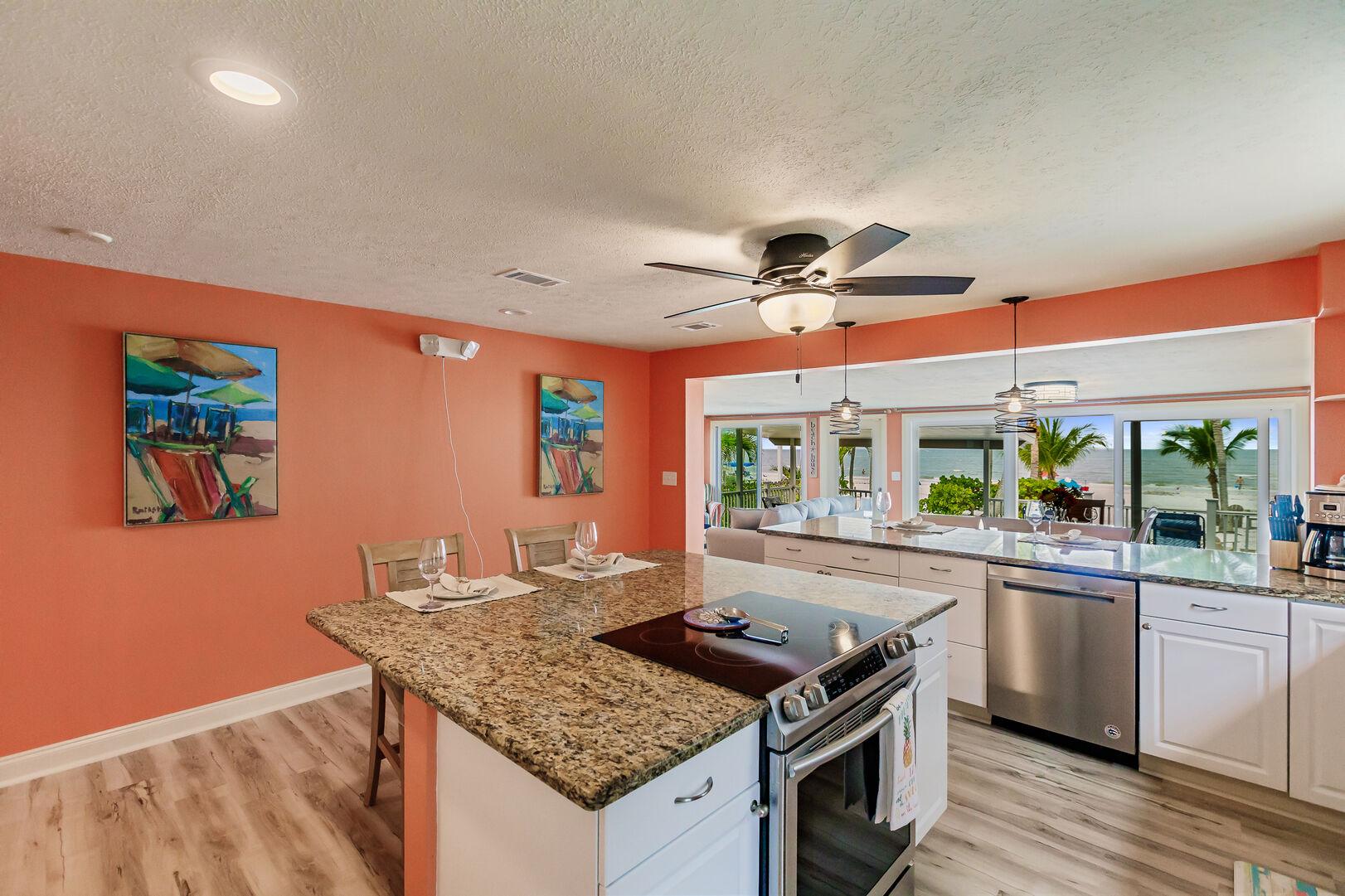 Spacious Kitchen Inside Beach Paradise Private Beach House Rental in Florida