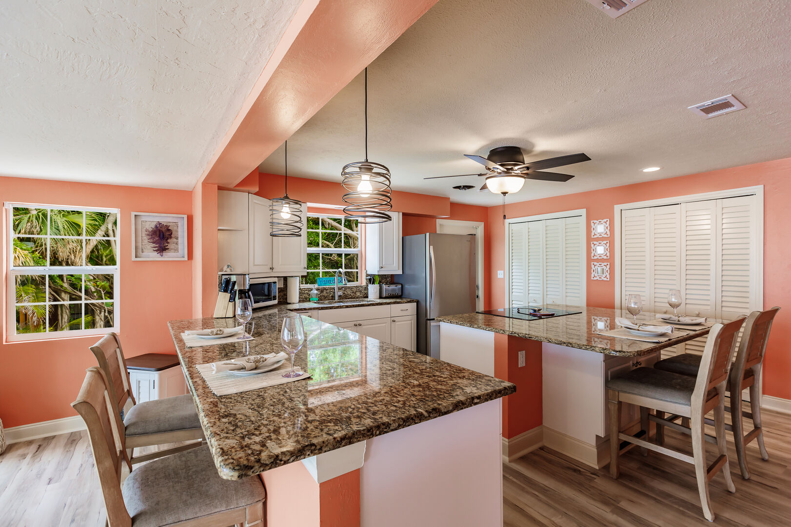 Kitchen And Dining Seating Area Private Beach House Rental in Florida