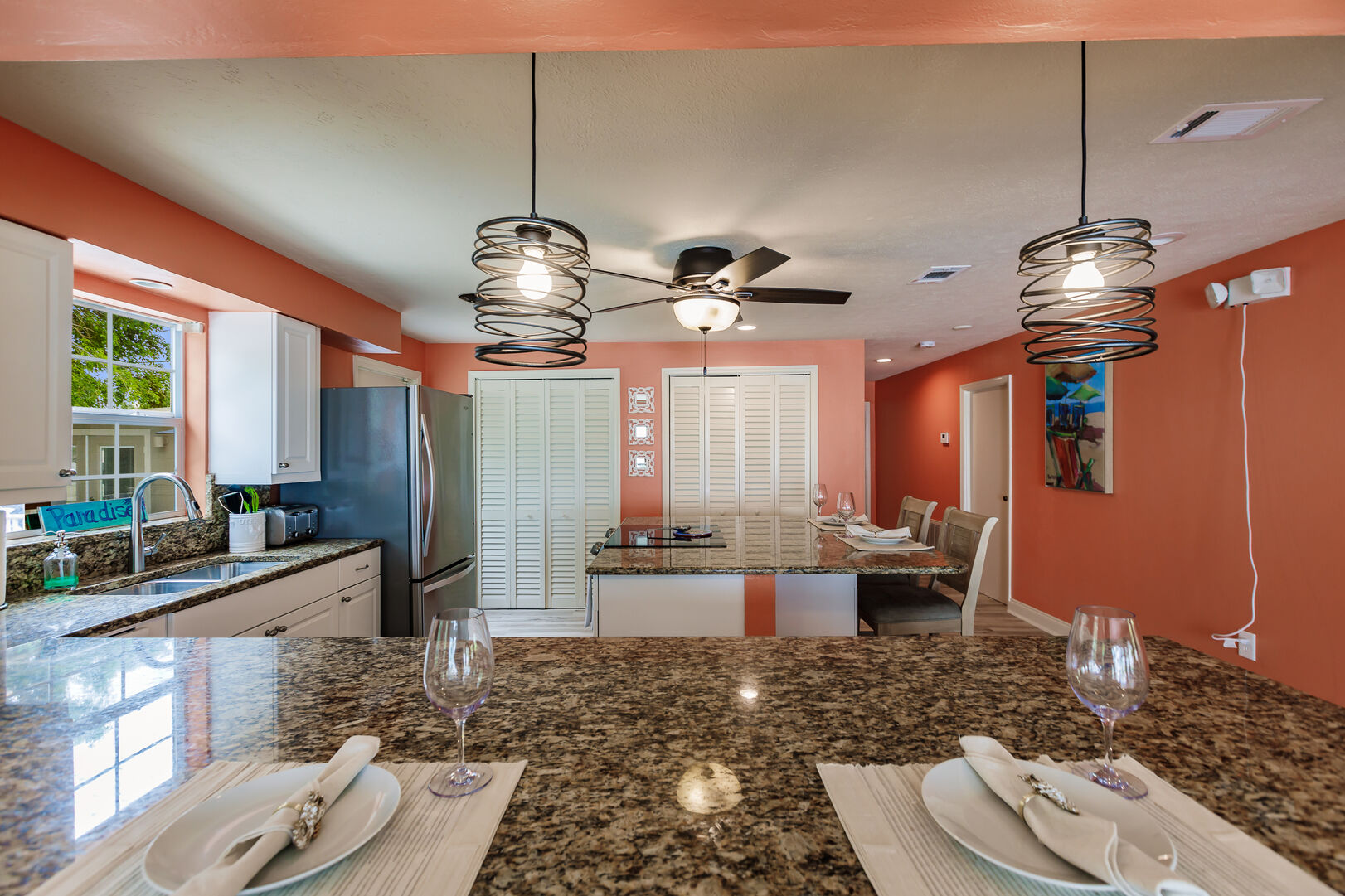 Modern Dining and Kitchen Area in Beach Paradise