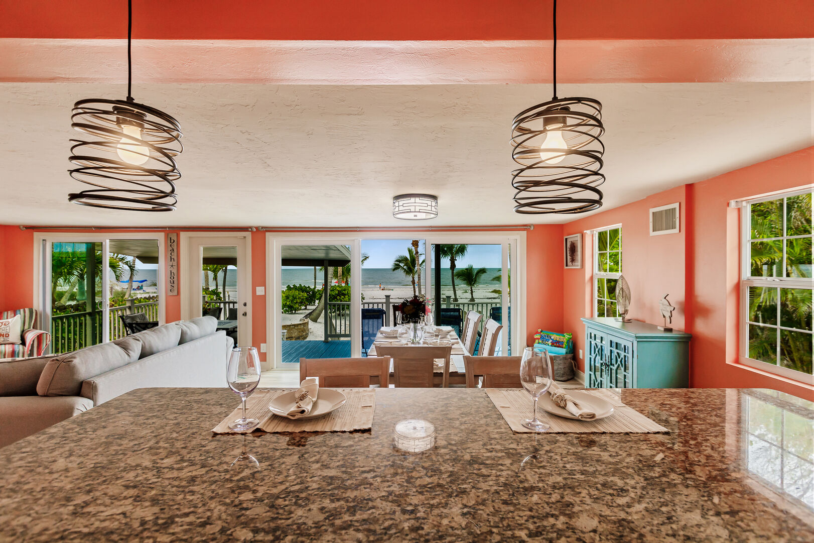 Beach View From Kitchen in Private Beach House Rental in Florida