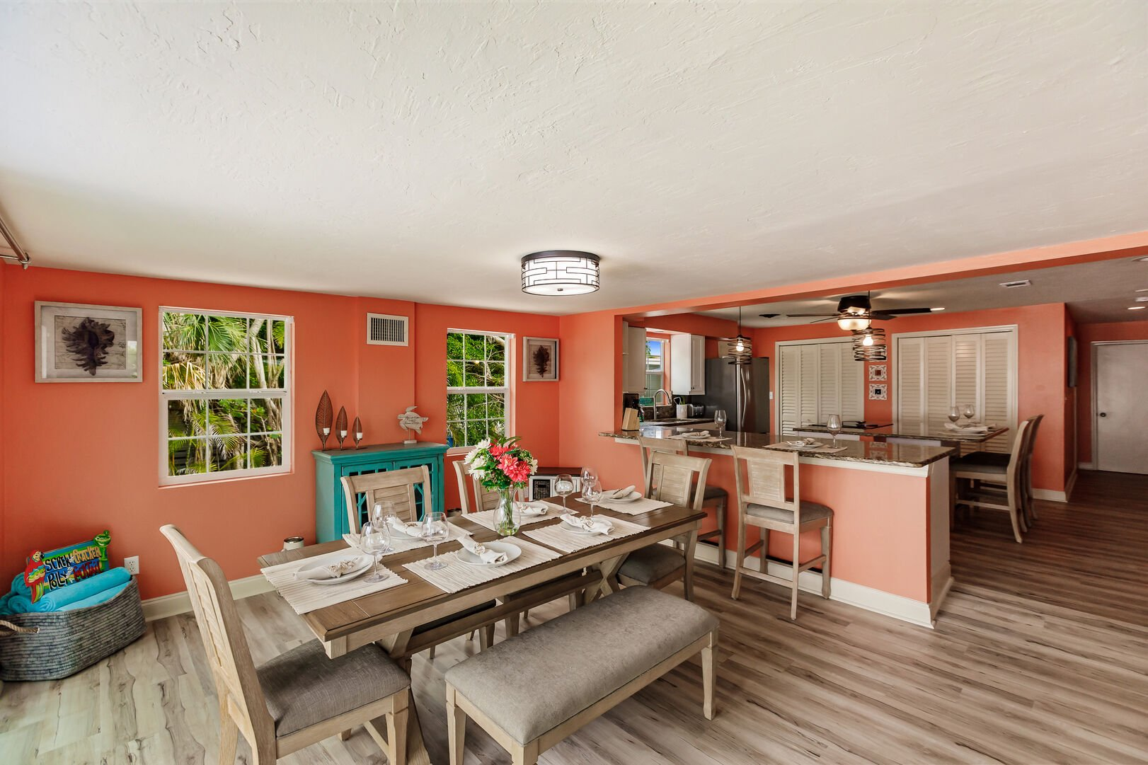 Dining Room Seating and Kitchen View Beach Paradise