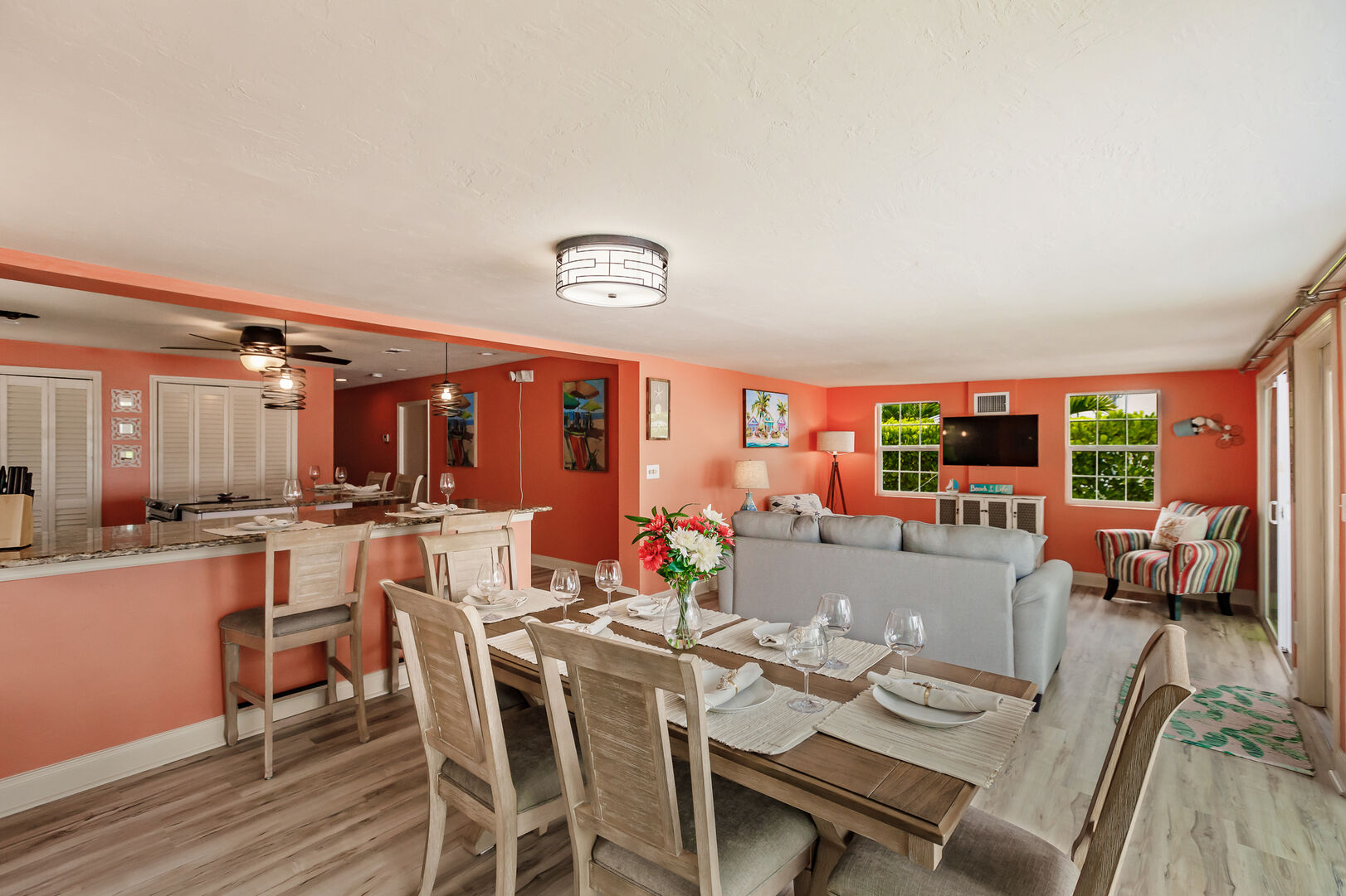 Dining Room And Livingroom Area in Beach Paradise
