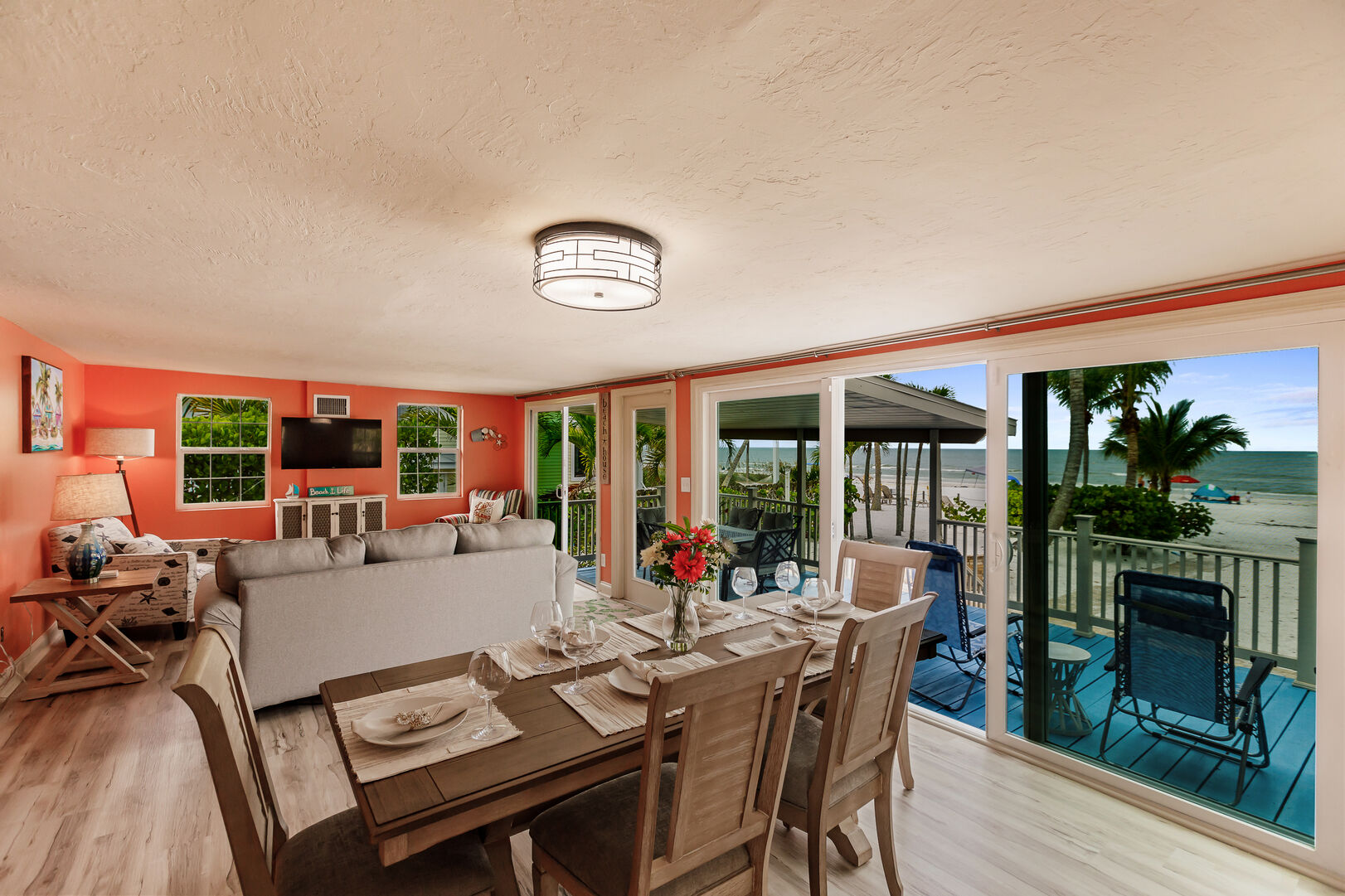 Beach Paradise Private Beach House Rental in Florida Livingroom and Dining Room