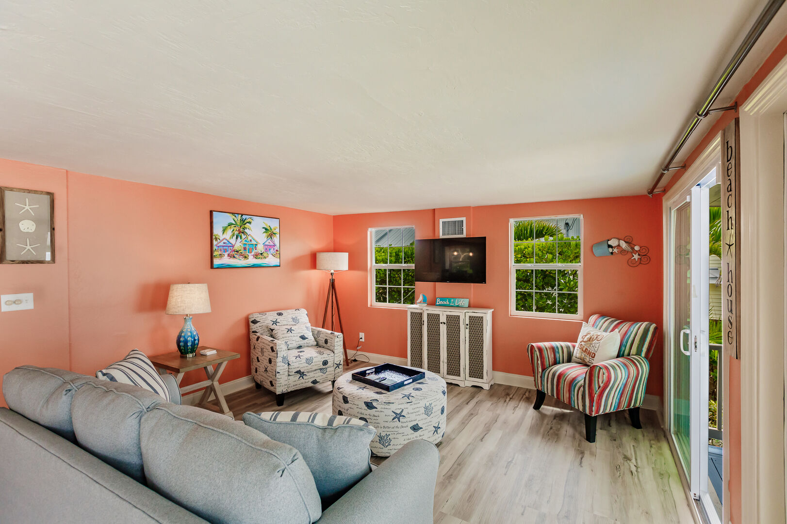 Private Beach House Rental in Florida Livingroom and Coral Paint