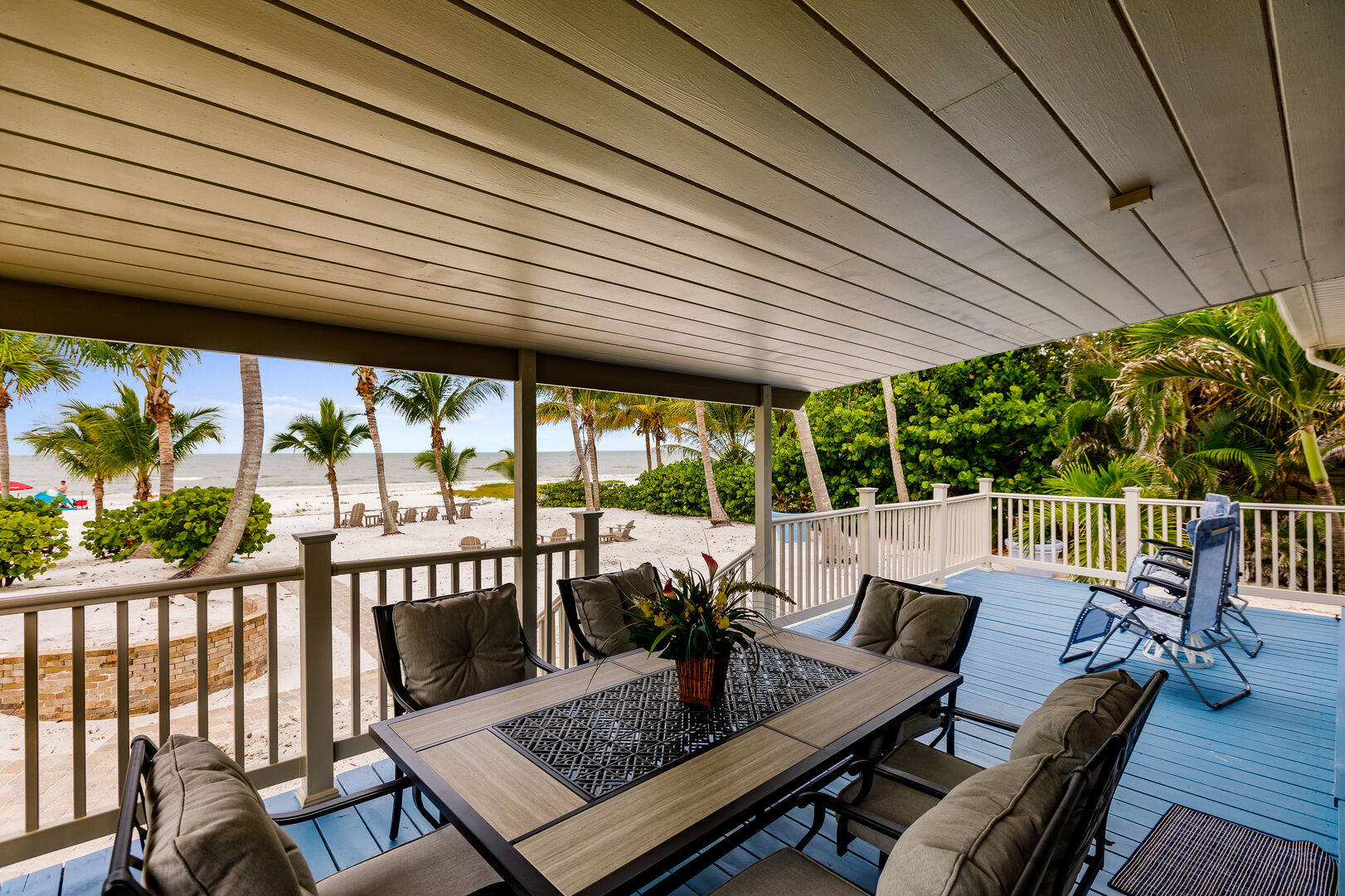 Covered Outdoor Deck and View of Beach Private Beach House Rental in Florida