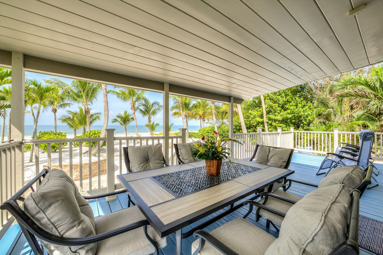 Outdoor Seating on Deck Private Beach House Rental in Florida