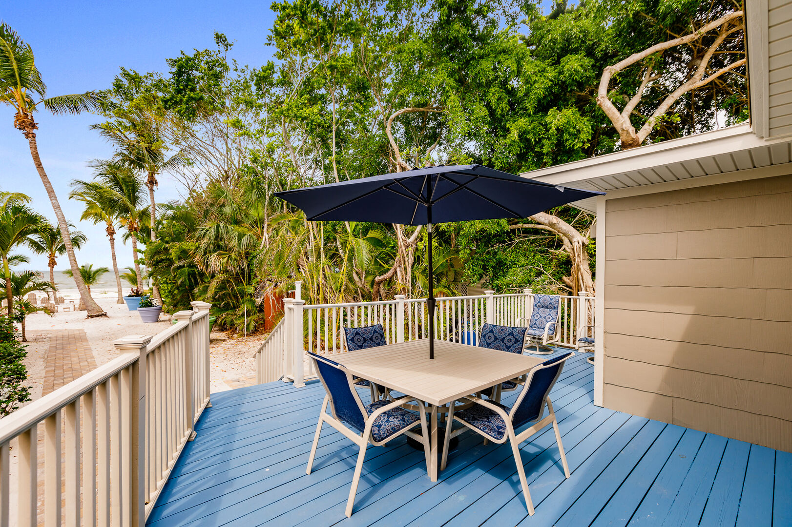 Fort Myers Beach House Vacation Rental Deck Seating and Beach View