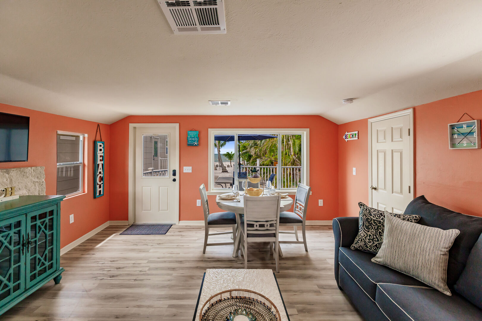 Living Room and Dining Table View Fort Myers Beach House Vacation Rental