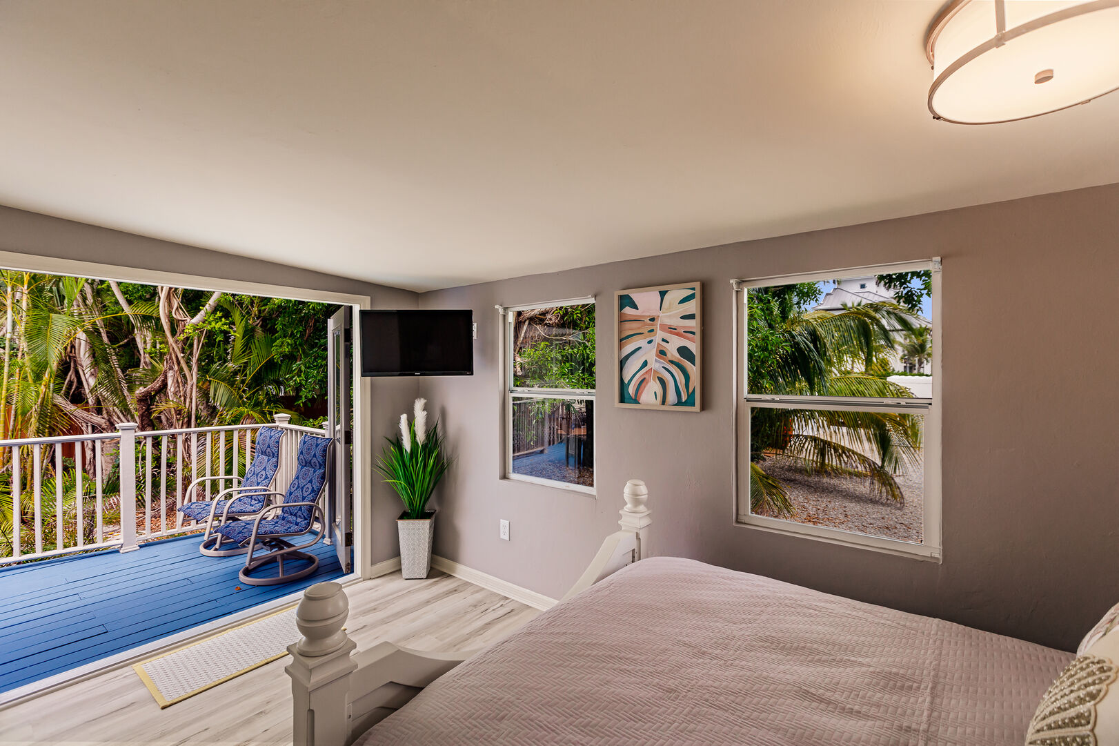 Bedroom with Deck Access and Beach View Fort Myers Beach House Vacation Rental