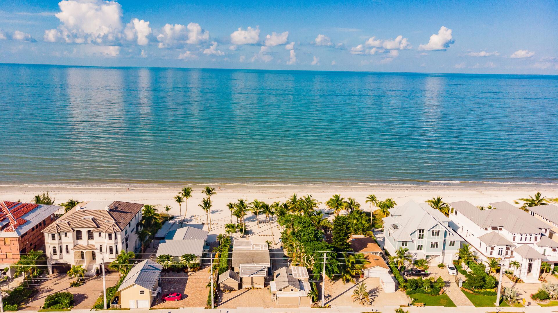 Aerial Beach View Private Beach House Rental in Florida