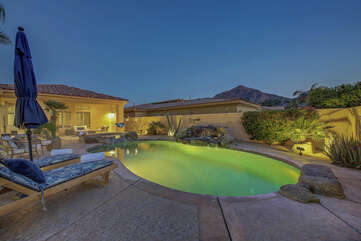 Sunny Villa has a front courtyard made to entertain and enjoy the desert sunset.