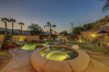 Relax and unwind in the oversized spa while you take in the views of palm trees and Santa Rosa Mountains.