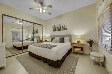 Suite 2 is located next to the dining room, featuring a Cal King-sized Bed, 42-inch LG Smart television with Roku stick and a private en suite bathroom.