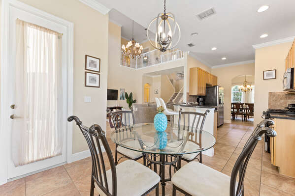 Enjoy a breakfast at the kitchen nook before a big day at the theme parks.