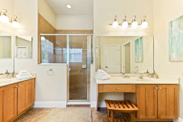 Enjoy double vanities while getting ready for the day!