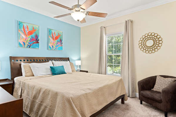 Take in the comfort of this spacious bedroom.