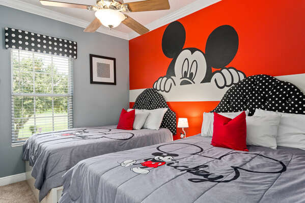 The kids will love seeing their favorite mouse when entering this kids bedroom!