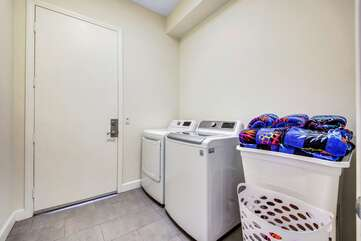 Enjoy access to a fully equipped laundry room with washer, dryer, ironing board, and iron. Wash your clothes here with the Tide Pods provided by Vacay Stay and arrive with clean clothes at home!