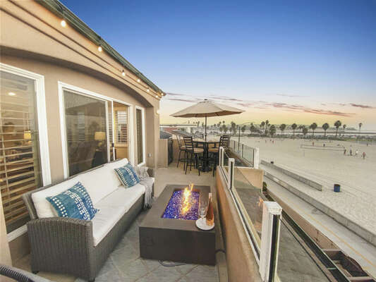 Oceanfront Patio with Fire Pit, Outdoor Living Room, Outdoor Dining + BBQ