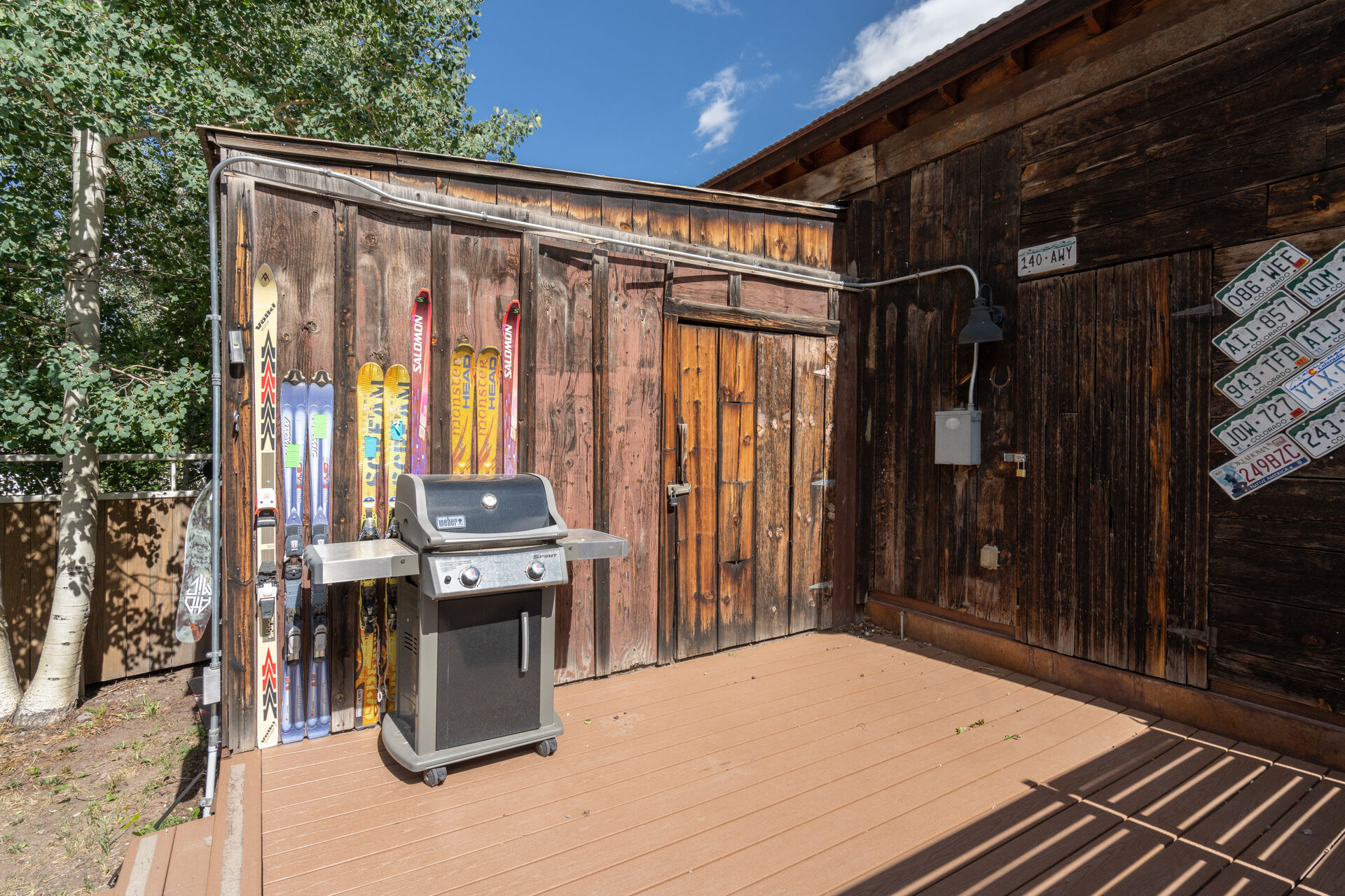 The grill by the shed of this holiday home in Telluride.