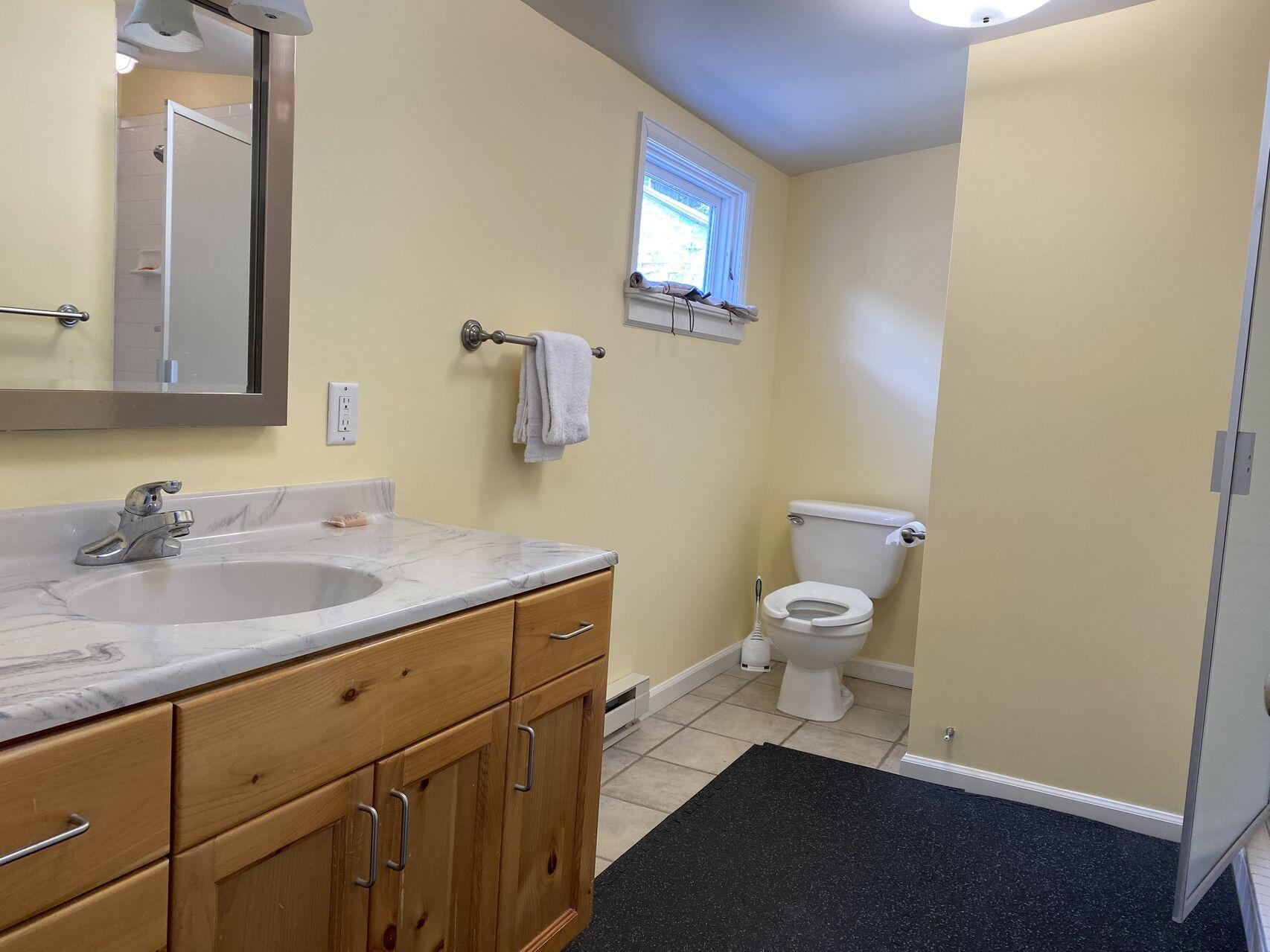 Bathroom with vanity sink and toilet.