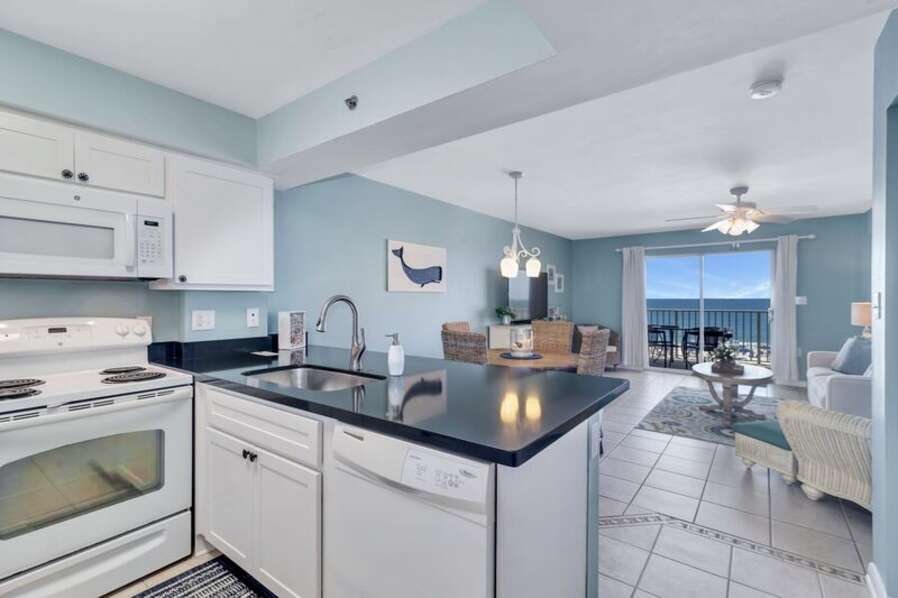 Fully Equipped Updated Kitchen with Views of the Gulf