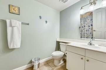 Bathroom adjacent to bunk bed