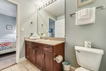 Private full bathroom adjacent to third bedroom