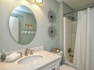Hall access guest bath with tub/shower