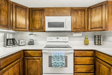 Kitchen with Microwave, Coffee Maker, and Toaster