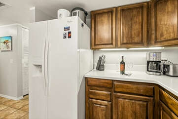 Refrigerator, Coffee Maker, and Toaster in the Kitchen