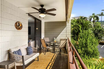 Lanai with Ceiling Fan, Outdoor Sofa, Table, and Chairs