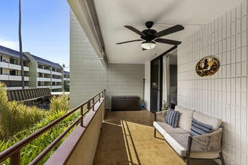Spacious Lanai with Ceiling Fan and Outdoor Sofa