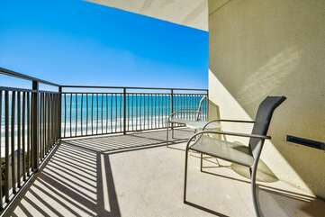 Balcony seating with view of the Gulf