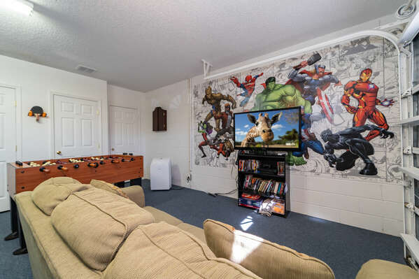 Garage converted to games room/TV room