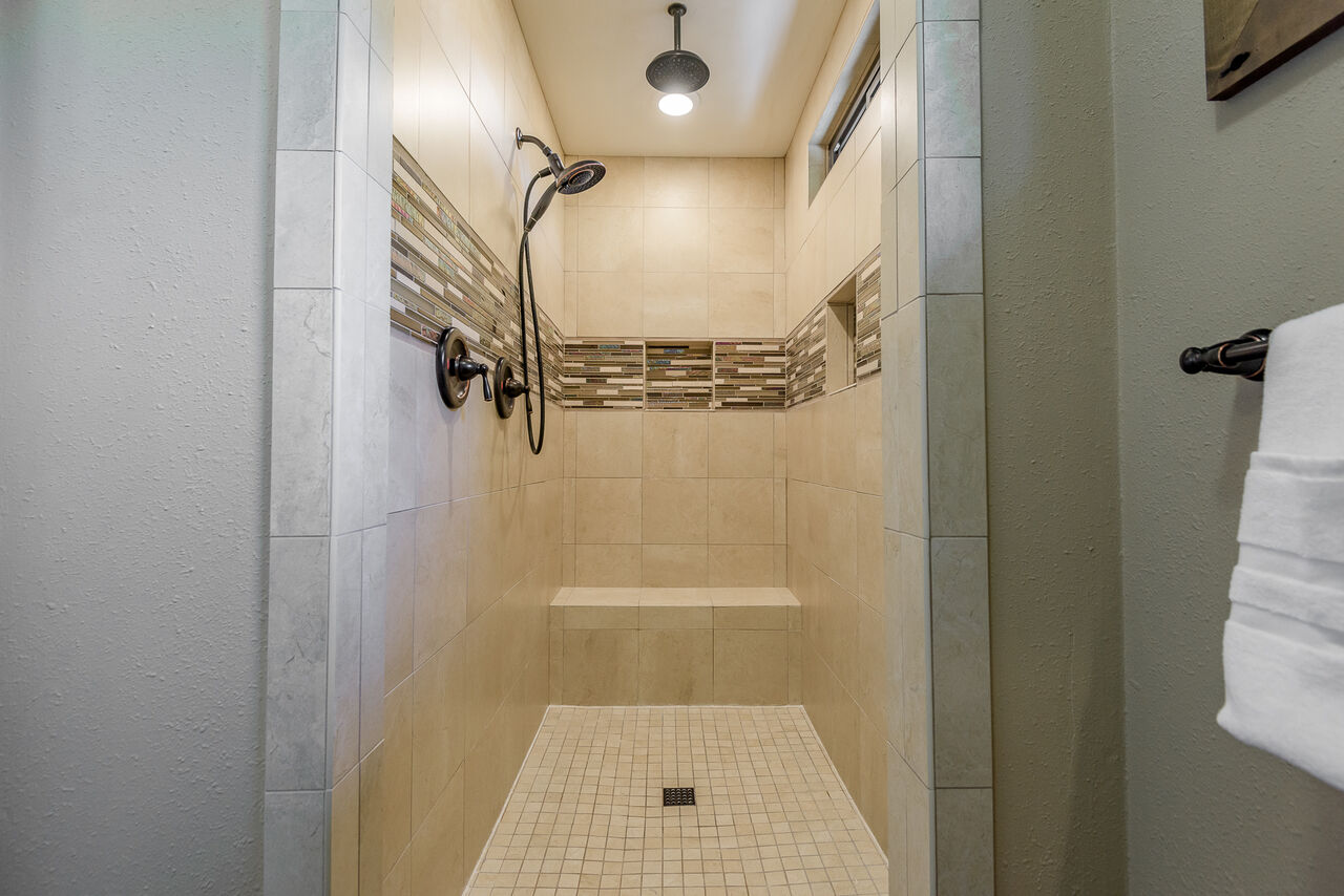 Large Tile Shower with Two Shower Heads