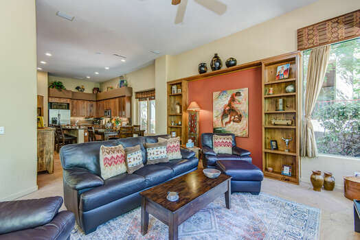 Family Room with Comfortable Leather Furnishings