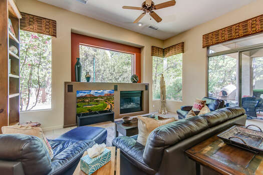 Cozy Family Room with Plenty of Natural Light and Patio Access