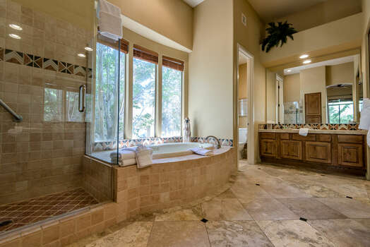 Gorgeous Tiled Bathroom, Granite Counter Sinks and Natural Light