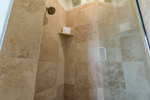 Grand Master Bath with a Tile/Glass Shower