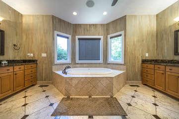 Master Bath, with sunken Tub and Double Vanities