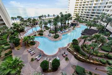 The pool deck at Shores