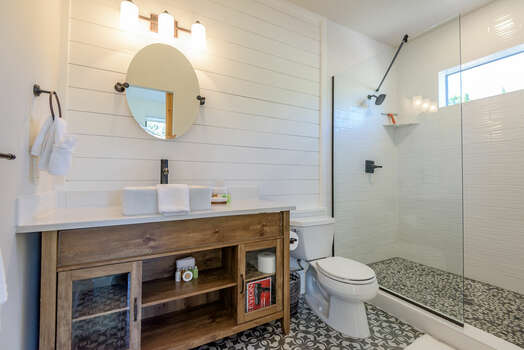 En Suite Bath with a Tile and Glass Shower