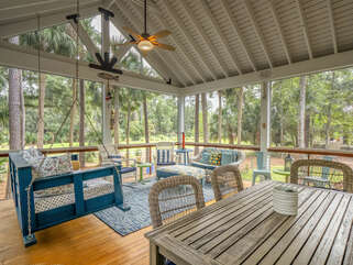 Outdoor dining/game table for dining outside.