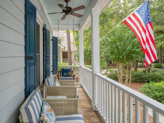 Classic front porch for outside relaxing.
