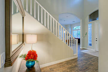 Grand entrance hints at home's richly appointed interior.